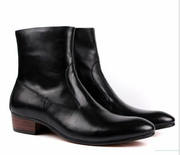 Handmade Men black ankle ankle ankle leather boot, men side zipper boot, men leather boot f11289