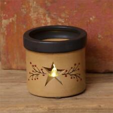 "New Primitive Country Folk Art BLACK STAR CROCK Jar Pot 6/"""