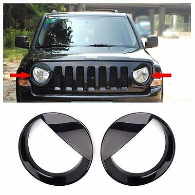 2PCS Car Angry Bird Headlight Trim Ring ABS Black For Jeep Patriot 2011-2015