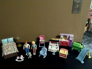 LOVING-FAMILY-LOT-DOLLHOUSE-FURNITURE-BACK-YARD-BED-LIVING-ROOM-FISHER-PRICE