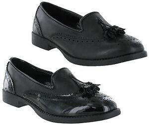 Ladies Teens Black Leather-Look T-Bar Work Office School Flat Pumps Shoes UK 4-9