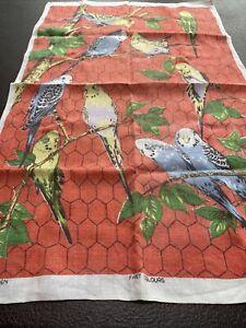 Vintage 1950's Pure Irish Linen Tea Towel Budgies Budgerigars Wall Art Textile