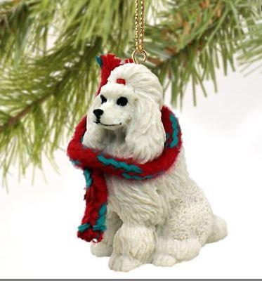 DOG  CHRISTMAS ORNAMENT HOLIDAY  XMAS Figurine Scarf POODLE WHITE