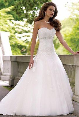 Lager weiß A-Line Lang Brautkleid Kathedral Hochzeitskleid Gr 36/38/40/42/44/46