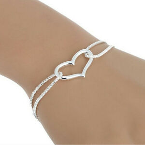 Women-Charm-Bracelet-925-Silver-Plated-Heart-Love-Bracelet-Chain-Fashion-SP