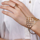 Punk Gold Silver Chic Bracelet Bangle Slave Chain Link Finger Ring Hand Harness