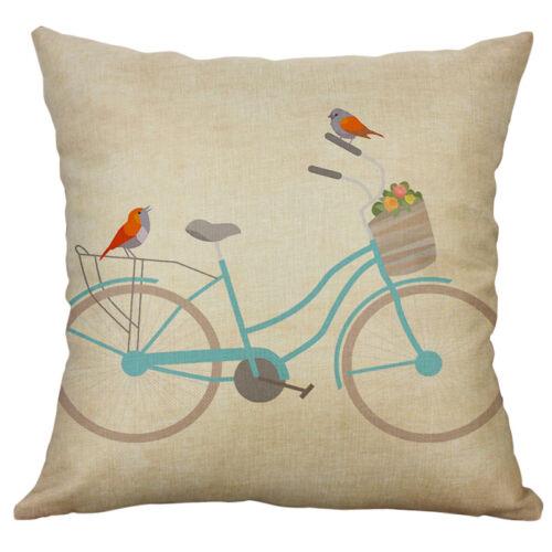 Retro Bicycle Cotton Linen Decorative Pillow Case Sofa Cushion Cover Home Decor