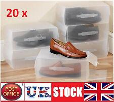 20x Large Men's women's shoe Boxes Storage Box Organiser Transparent Plastic