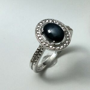 Claw-Ring-Natural-Black-Onyx-Gemstone-Oval-Cabochon-Sterling-Silver-925-Size-7