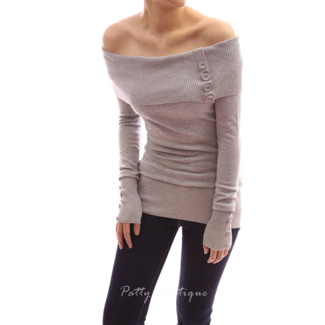 Sexy Off Shoulder Buttons Long Sleeve Tunic Jumper