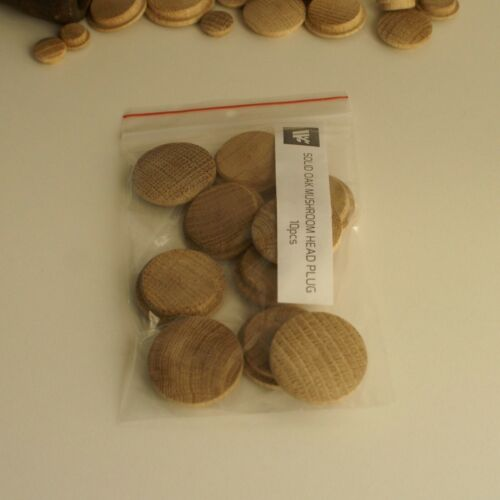 X Large Solid Oak Mushroom Head Plugs 35mm Diameter Hole Wood Buttons MH35
