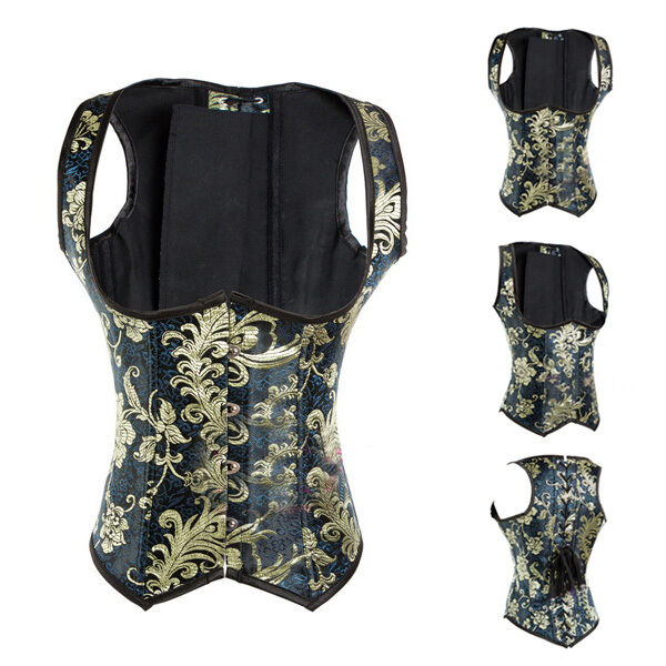 Steampunk Underbust Corset Waist Trainer Blue & Gold Floral Brocade Vintage Vest
