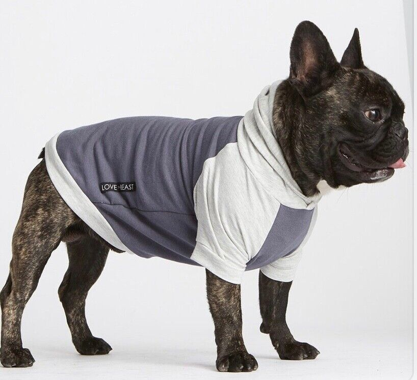 ThyBeast Bamboo Cotton Fleece Knit Dog Hoodie - Blau & grau Größe Small