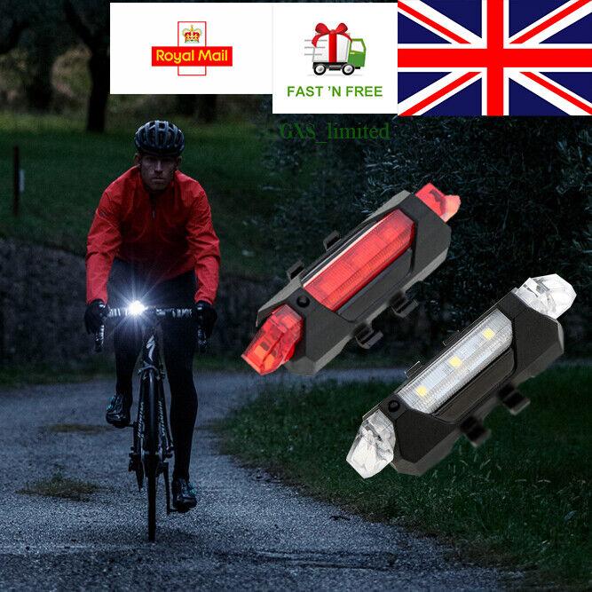 USB Rechargeable Bike Lights Front Rear Hazard Light Waterproof 5 LED Red White