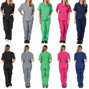 2Pcs Unisex Scrub Doctor Nurse Uniform Medical Healthcare Suit Hospital Workwear
