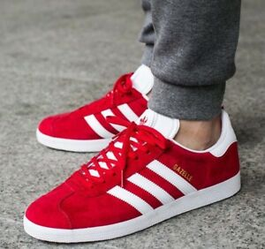Details about Adidas Gazelle Scarlet Red White GOLD Trainers Sneakers S76228 Men's US 11 Shoes