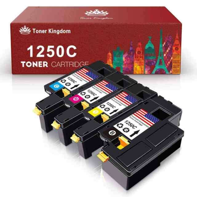 4 New High Yield 1250 Toner Cartridges Color Set For Dell 1355cnw 1355cn Printer