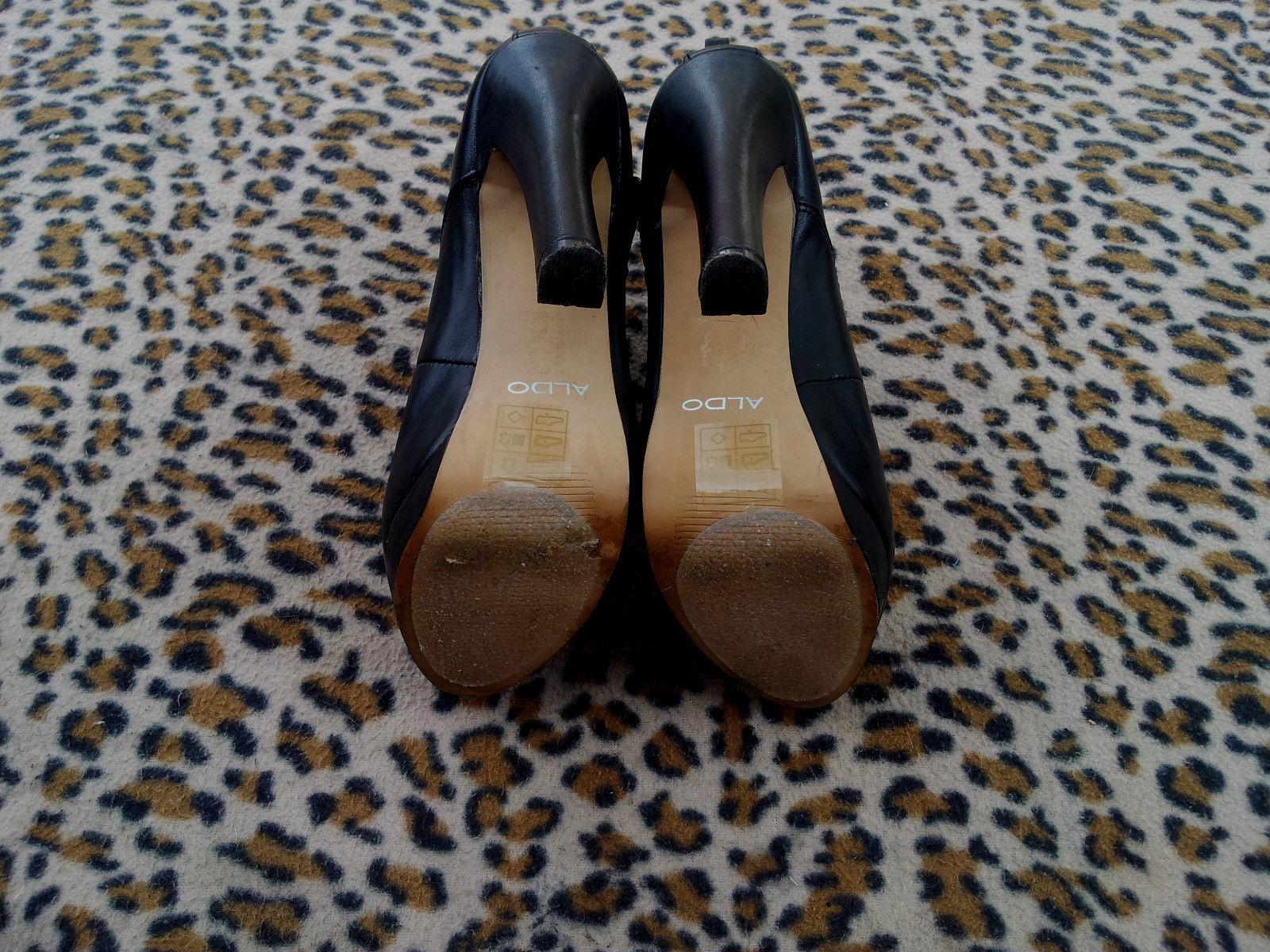 Aldo High heeled heeled heeled schwarz Leder ankle Stiefel  5 inch heel UK Größe 3 EU 36 542673