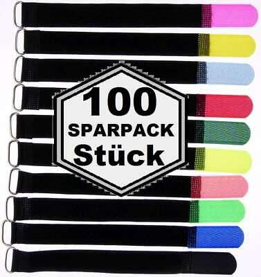 100 X Nastri Velcro 200 X 20 Mm Con Ponticello In 10 Colori Velcro Fascette Per Cavi Fascette Per Cavi-mostra Il Titolo Originale