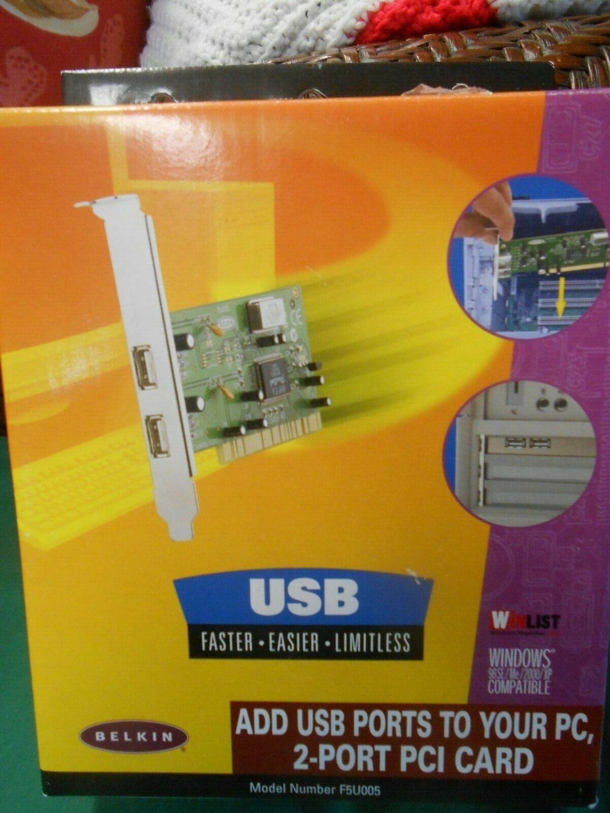 BELKIN....USB 2 Port PCI Card Windows Compatible 98SE-Me-2000-XP......