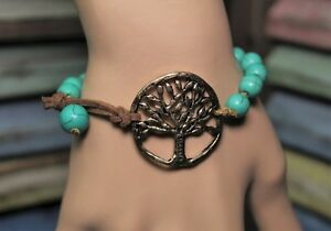 Tree-of-Life-Turquoise-Bracelet-Suede-and-Burnished-Gold-Rustic-Howlite-Piece