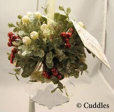 Kissing Krystals Ornament Mistletoe Christmas Crystal Maple Leaf Red White Ganz
