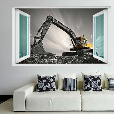 Excavator Construction Equipment Machine Wall Art Stickers Mural Decal Kids EK5