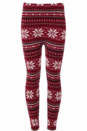 New Ladies Women/'s Soft Knitted Christmas Snowflake  Leggings UK 08-14 One Size