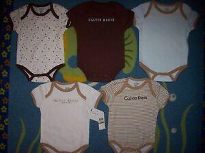 Calvin-Klein-Bodysuits-Baby-Boys-Five-piece-Layette-Set-Size-0-3-Mos-NWT