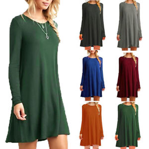 Womens-Ladies-Long-Sleeve-Stretch-A-Line-Skater-Flared-Swing-Dress-Top-Size-8-26