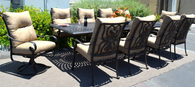 11 Piece Aluminum Outdoor Dining Set Patio Chairs Table Santa Anita