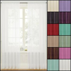 Pair-2-Panels-of-voile-Slot-Top-Net-Curtain-Panel-Multiple-Colours-amp-Sizes