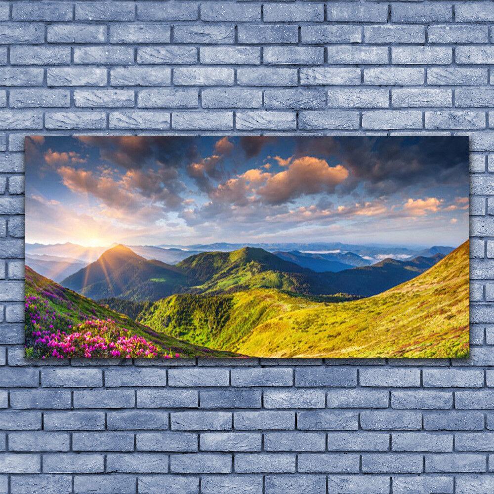Glass print Wall art 140x70 Image Picture Mountain Sun Meadow Meadow Meadow Landscape 3326ab