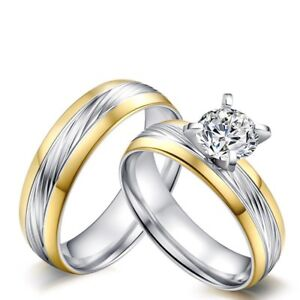 6MM-Gold-amp-Silver-Lover-039-s-CZ-Band-Stainless-Steel-Wedding-Couple-Rings-Size-5-12
