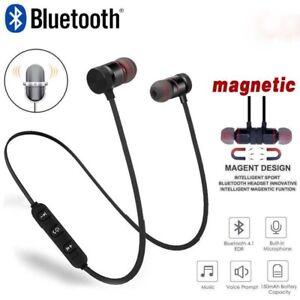 Wireless-Bluetooth-Headphones-Magnetic-Earphone4-1-In-ear-Stereo-Earbuds-amp-Mic-UK