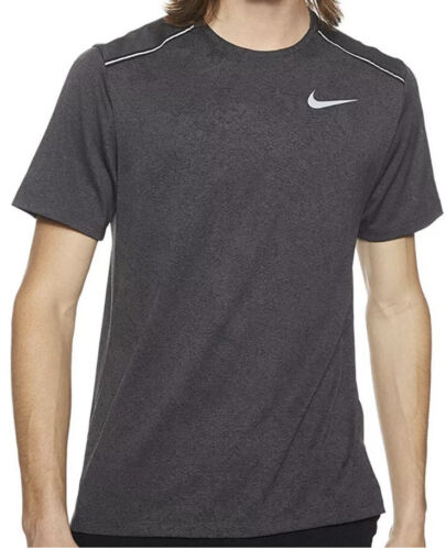 Nike Men/'s Dri-FIT Miler Running Shirt Black Heather//Black Size XL