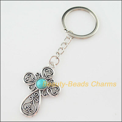 2 Fashion 32mm Key Ring KeyChain Tibetan Silver Dragon 27.5x34.5mm Pendant
