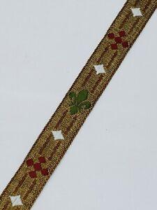 Vintage-Vestment-Sastreria-Tapete-Rojo-Verde-en-Oro-1-3cm-Poda-Silky-4-6m-Lote
