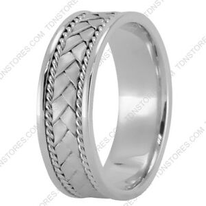 ROPE BRAIDED 14K WHITE GOLD WEDDING RING MENS BRAIDED RINGS WOMENS
