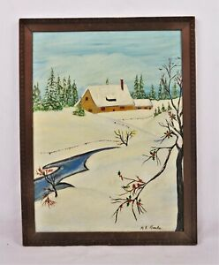 Vintage-Mid-Century-Primitive-Folk-Art-Naive-Oil-Painting-Winter-Scene-Signed