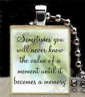 Value Of A Moment Dr Seuss Quote Scrabble Tile Pendant Inspirational Jewelry 2