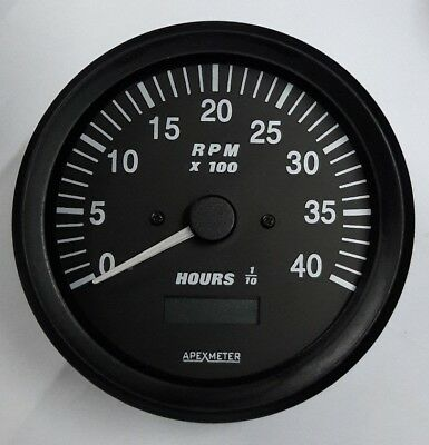 12V Tachometer//Hourmeter 0-4000 RPM Alternator Signal Gauge Black Bezel