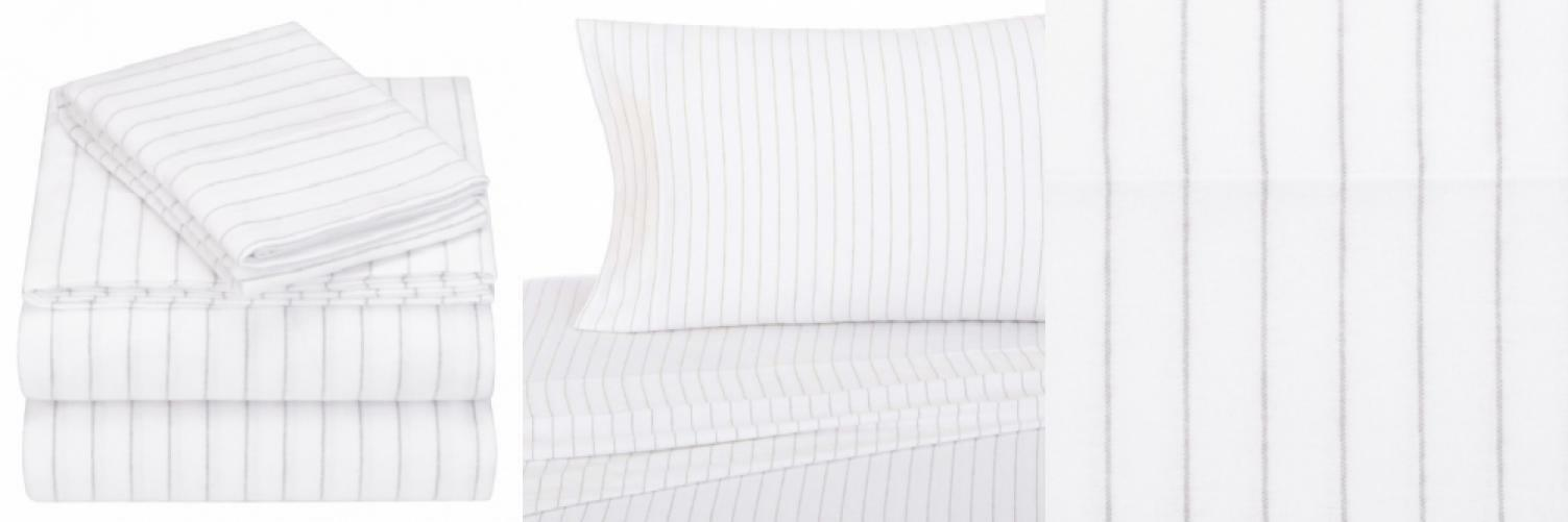 Pinzon 160 Gram Pinstripe Flannel Cotton Bed Sheet Set, Full, grau