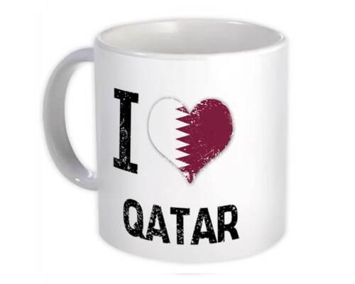 I Love Qatar Mug Heart Flag Country Crest Gift Qatari Expat