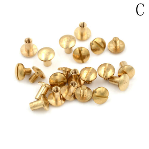 10x Arc Solid Brass Button Stud Screw Nail Screw back Leather Rivet Belt 6mm AS