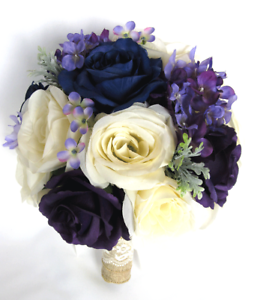 17 pc Wedding Bouquets Silk Flower Bridal package NAVY blue PURPLE ...