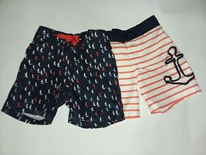 Janie And Jack 2015 Pacific Cove Resort Boy Swim Trunks lot Anchor Sailboat 6 12