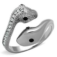 Stainless Steel Crystal Double Headed Snake Fashion Jewelry Ring