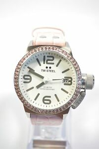 TW-Steel-TW36-Canteen-White-Dial-Pink-Leather-Crystal-Watch