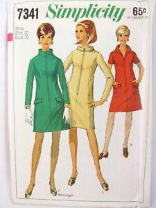 Simplicity-7341-Sewing-Pattern-Retro-1960s-Dress-w-Front-Zipper-Size-10-31-Uncut